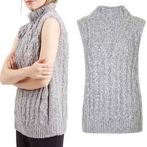 TOPSHOP | Cable Knit Tabard Sleeveless Sweater